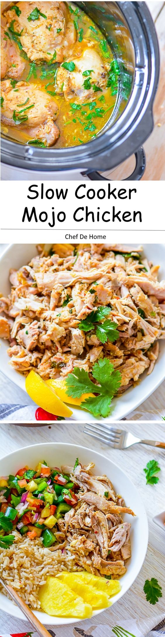 Pull Apart Tender Juicy Cuban Mojo Chicken Fill in tacos or serve with rice A clean and flavorful chicken dinner all prepared in slow cooker | chefdehome.com
