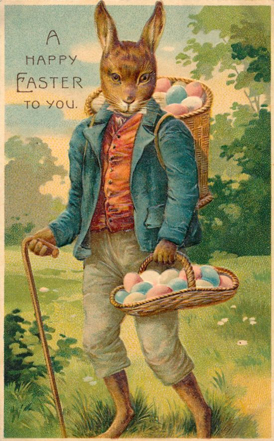 Happy Easter to You!  Vintage Easter postcard ~ anthropomorphic rabbit with walking stick  delivering eggs.: