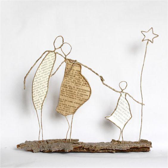 what a lovely little paper and wire sculpture fil de fer pinterest kabelskulpturen. Black Bedroom Furniture Sets. Home Design Ideas