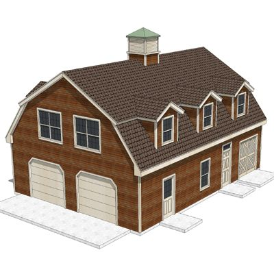 Sheds gambrel and garage on pinterest for Shed roof garage plans