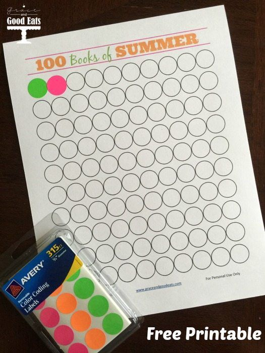 Reading Chart Free Printable: 100 Books of Summer. Help your kids keep track of how many books they read over the summer! #summer #reading #freeprintable