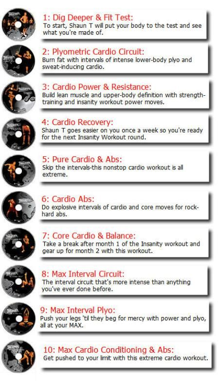 insanity workout schedule | going to this!! Program lasts 60 days/2 months, 6 days per week 45 minutes per day! hardest workout ever on tape extreme results GO HARD OR GO HOME!!