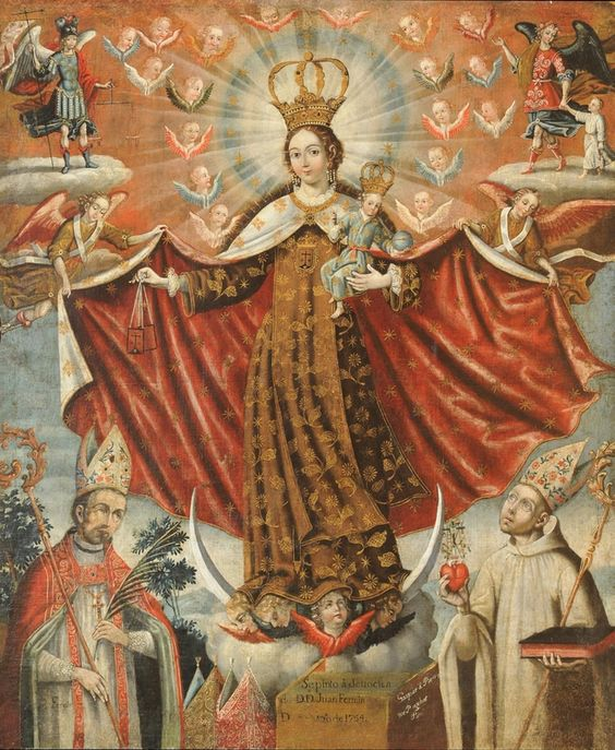 Our Lady of Mount Carmel with Bishop Saints, 1764. Gaspar Miguel de Barrio, Bolivia, Potosi 1706 - after 1706. Oil on canvas, Image 38 3/4 x 33 1/16 inches (98.5 x 84 cm). Framed 45 1/2 x 39 3/8 x 3 1/4 inches (115.6 x 100 x 8.3 cm). Promised gift of the Roberta Richard Huber Collection.