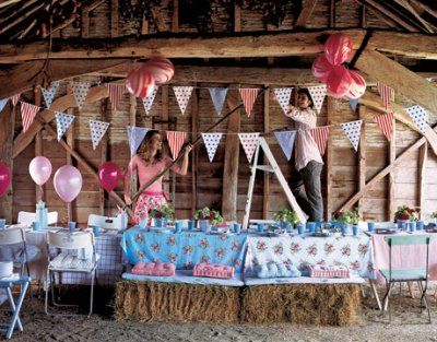 country bridal shower ideas: we could use the cute country sheet Idea for table cloths