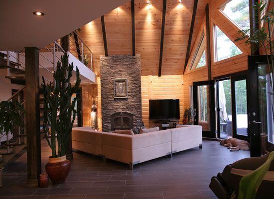 Modern Interior Contemporary Design Meets Stunning Log Home Modern Cabin Interior Cabin Interior Design Modern Cabin