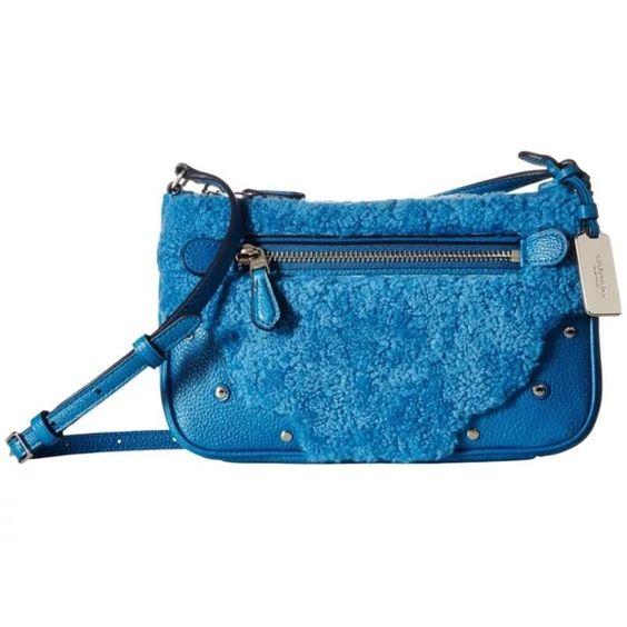 e45c86727bc6 COACH SMALL RYDER POCHETTE CROSSBODY PEACOCK BLUE! A striking mix of pebble Rhyder  Coach Satchel ...