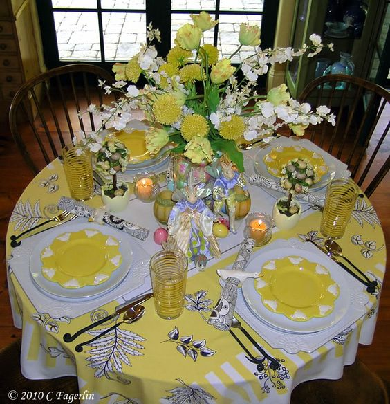 7 Easter Tablescapes in Yellow