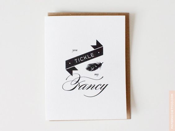 Valentine's Day Card - You Tickle My Fancy - Valentine, witty, flirty, typography, simple, modern, vintage, black and white. $5.00, via Etsy.
