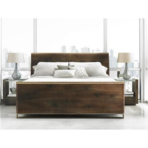 Caracole Night Cap Rustic Wood Modern Brass Sleigh Bed Queen