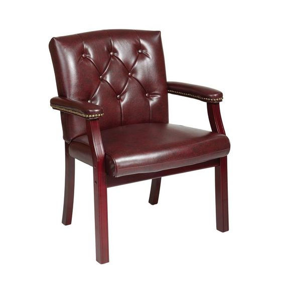 Office Star Products Oxblood Vinyl Visitor Office Chair Tv233 Jt4 The Home Depot Guest Chair Chair Faux Leather Chair