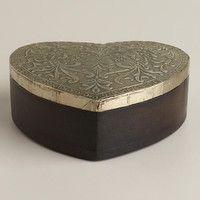 Silver-Finish Sadie Heart Jewelry Box - World Market