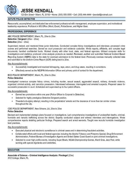 Free Police Officer Resume Templates -    wwwresumecareer - placement officer sample resume