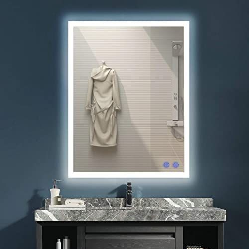 New Venetio 28 X 36 Inch Led Lighted Mirror Bathroom Wall Mounted Backlit Design Adjustable Daylights Memory Touch Button Defogger Waterproof 28 X 36 In W In 2020 Bathroom Mirror Bathroom Wall Mirror With Lights