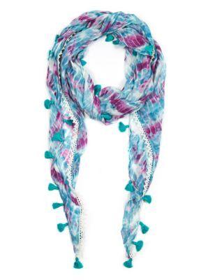 Tie Dye Print Tassel Scarf | M&S
