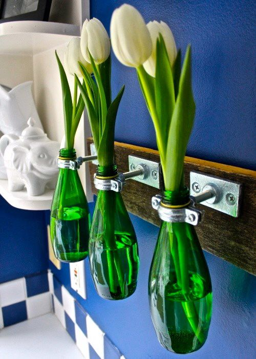 Perrier bottles used as vases
