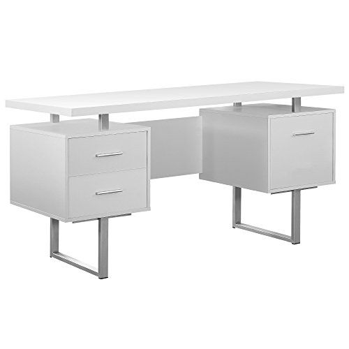 Monarch Specialties White Hollow Core Silver Metal Office Desk 60
