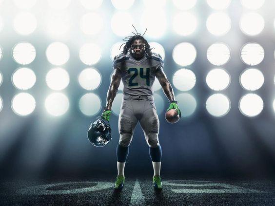 Nike NFL Jerseys - Seattle's Marshawn Lynch in the Seahawk's new alternate uniform ...