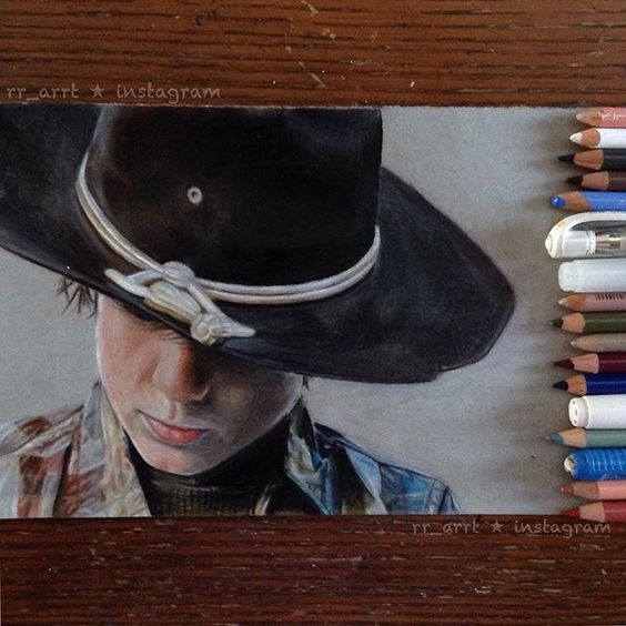 Finished drawing of Carl from The Walking Dead!  ◄•►◄•►◄•►◄•►◄•►◄•►◄•►◄•►◄•►◄•► I'm actually really happy with this drawing! ❤️ I'm not caught up yet so please no spoilers. :) Let me know what you think below!