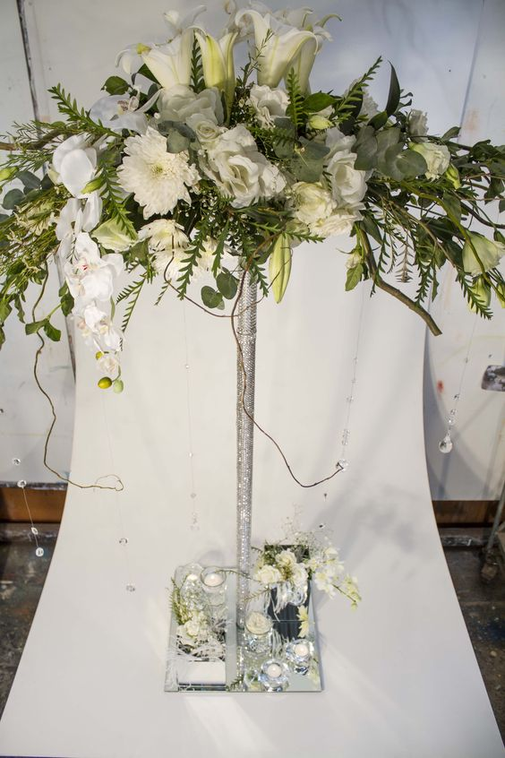 Centerpiece Set Up For Hire Cylinder Vases Diamante Roses