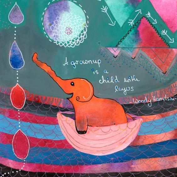 grgrosses Poster Print ElephantLove Elefant Bild von MissLillemor