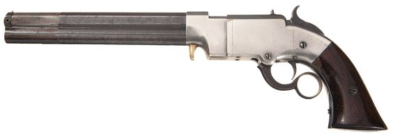 .41 Caliber Lever Action Navy Pistol manufactured by the Volcanic  Repeating Arms Co., in 1856-1857. The Volcanic Repeating Arms Co., made an estimated 1500 Navy pistols with 8-inch barrels between 1855 and 1857