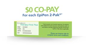 Request your EpiPen Co-Pay Card by calling 1-800-395-3376 and start saving on your EpiPen 2-Pak® prescription.    Maximum benefit of $100 per EpiPen 2-Pak where applicable. This offer may be used on up to three EpiPen 2-Paks per prescription. Expires on 12/31/2014. Patients with questions should call 1-855-859-2971.