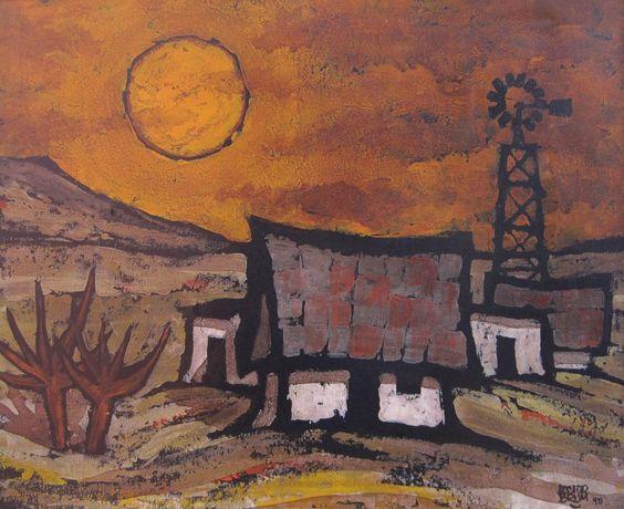 """Hector Brum Requena """"Rancho"""" Acrílico sobre tela  Año 1995  50 x 61 cm.  http://www.portondesanpedro.com/ver-producto.php?id=11865"""
