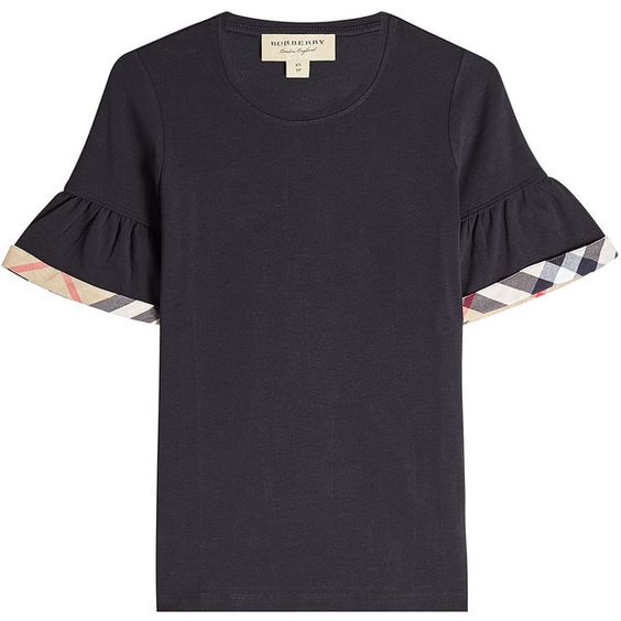 Burberry London Cotton T-Shirt ($199) ❤ liked on Polyvore featuring tops, t-shirts, black, cotton tees, sleeve t shirt, burberry t shirt, burberry tee and cotton t shirts