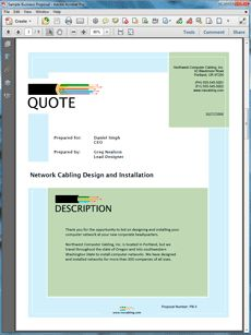 Network Cabling Sample Proposal  Create Your Own Custom Proposal