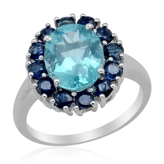 Liquidation Channel | Paraiba Apatite and Kanchanaburi Blue Sapphire Ring in Platinum Overlay Sterling Silver