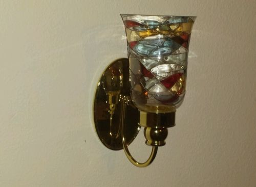 Set of 2 Partylite Mosaic Stained Glass & Brass Candle Wall Sconces *Retired* candles ...
