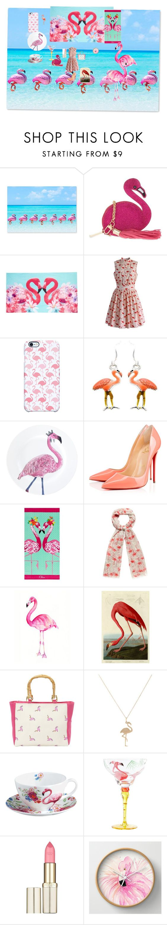 """Abriena flamingos"" by dewdrop587 ❤ liked on Polyvore featuring Gray Malin, Skinnydip, Matthew Williamson, Chicwish, Uncommon, Christian Louboutin, PBteen, Red Herring, Dot & Bo and Magid"