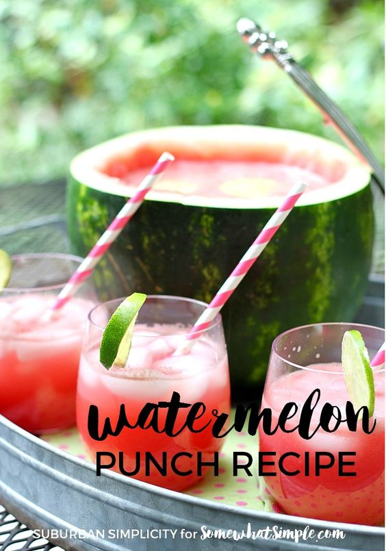 Try this refreshing and easy Watermelon Punch Recipe at your summer picnics and BBQs.  Nothing goes to waste because you turn the watermelon into a fun serving bowl!