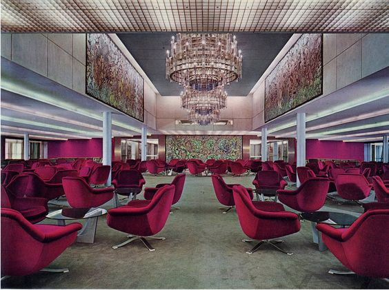 Inside the first class ballroom on the Italian Michaelangelo Liner in the 1960s