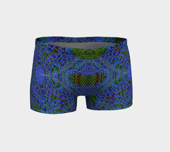 Blue Alien - These shorts are designed with a shaped waistband to curve with your body.  They are made with the same great fabric used in our leggings and milled in Montreal.  88% eco-poly and 12% spandex.