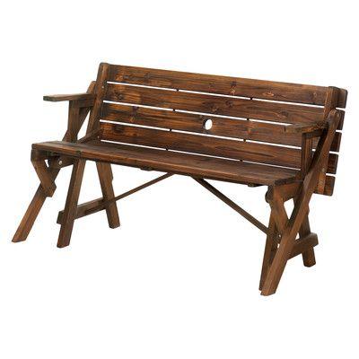 Zingz & Thingz Transforming Wood Garden Bench & Picnic Table