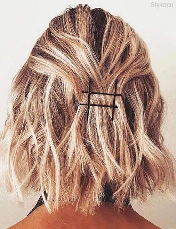 Prettiest Bobby Pins Hairstyles For Short Hair In 2018 Shorthairbraids In 2020 Hair Styles Bobby Pin Hairstyles Short Hair Styles Easy
