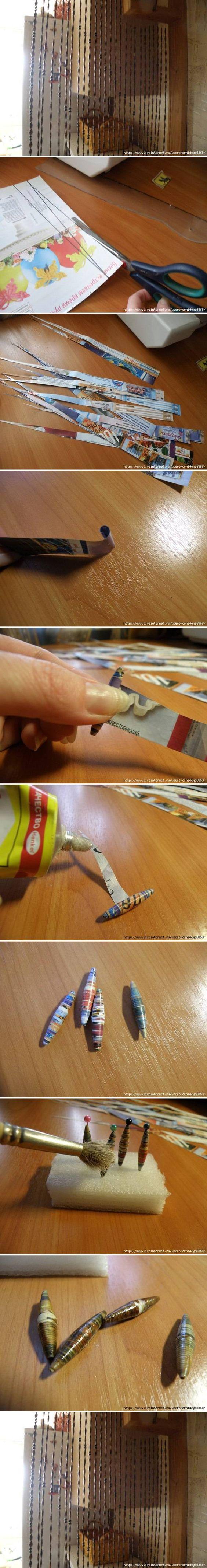 DIY perlas de Periódicos cortina DIY Proyectos