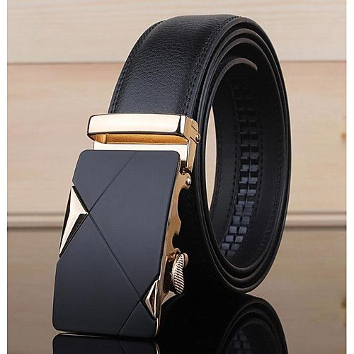Fashion Luxury Casual Solid Black Leather Automatic Buckle Mens Belt Waistband