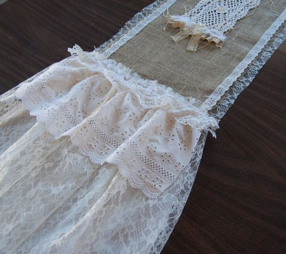 Love is the Thread Vintage Lace and Burlap by LaPetitePrairie