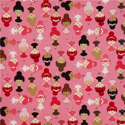 pink ballerina girls fabric by Robert Kaufman USA