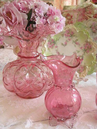 Cranberry Fenton Ruffled Vase ...ONE LEFT