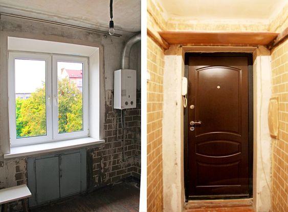 Входная дверь и газовая колонка