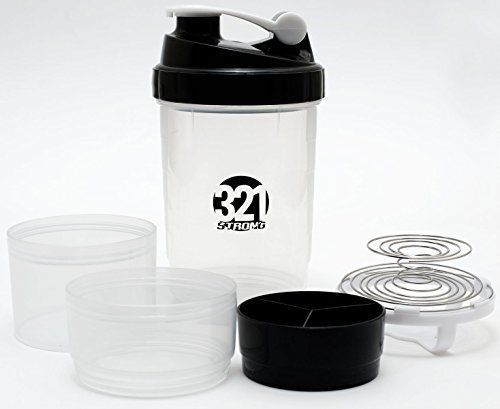 Stackable Shaker Bottle stacking 3 in 1 mixing 2 Storage Compartments Pill Tray #321STRONG