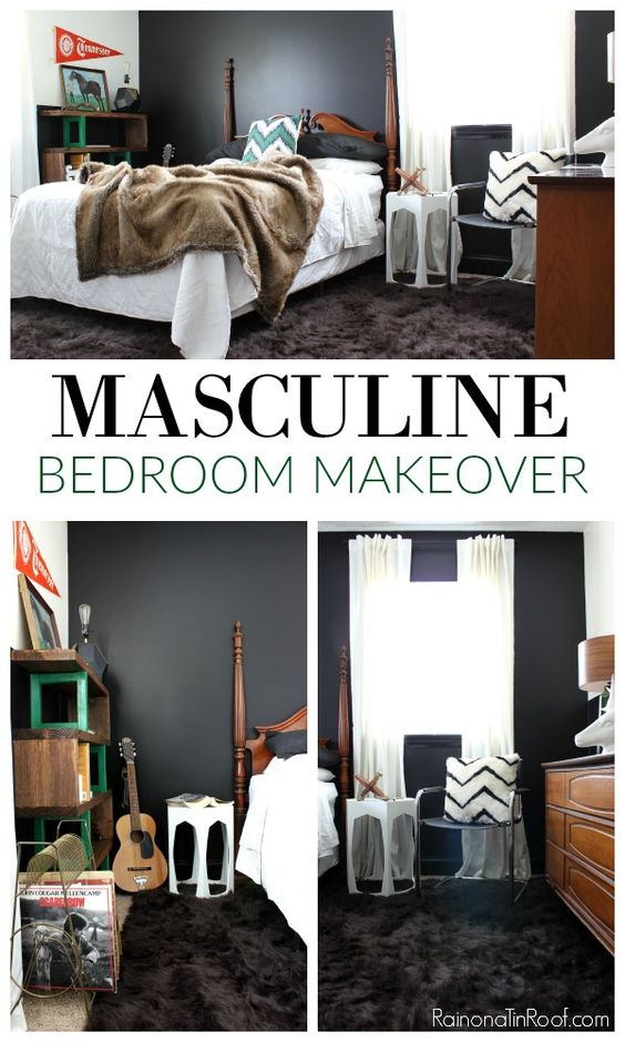 Masculine bedroom makeover with an office space boys for Diy boys bedroom ideas