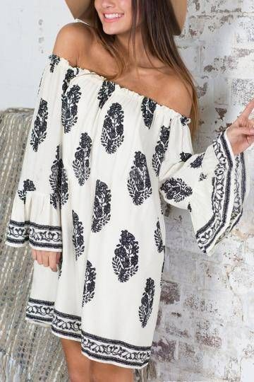 Breezy, refreshing and simply stunning, this off shoulder dress is what makes you promising. This dress is complete with an off-the-shoulder neckline and bell sleeves. All over printing, and team it out with a pair of jean, sandals.: