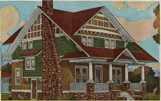 Craftsman style exterior colors craftsman bungalow for Early 1900 house styles