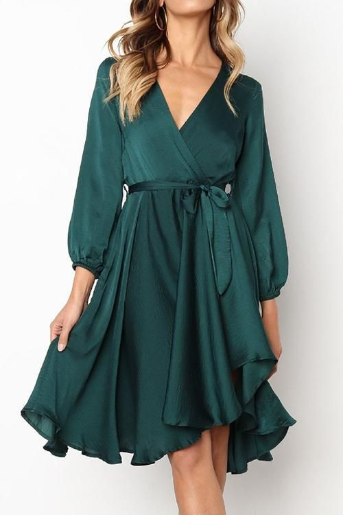 The most eye-catching feature is the flared skirt cut in hi-lo hemline which creates incredible feminine charm when you are walking The crop-sleeve top shines with a beautiful v-neck by the help of self-tie belt 34 sleeve is the perfect sleeve length for this true wrap dress It works together with the mid-length