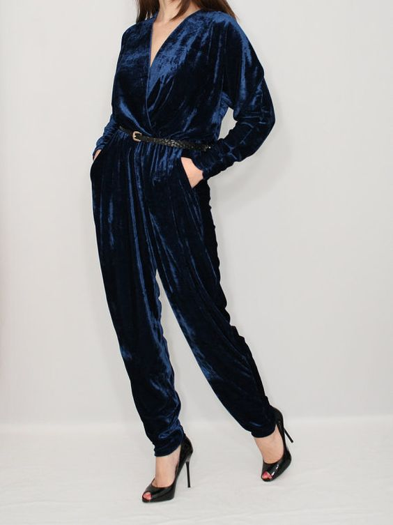 Velvet Jumpsuit Navy blue Jumpsuit Long sleeve jumpsuit