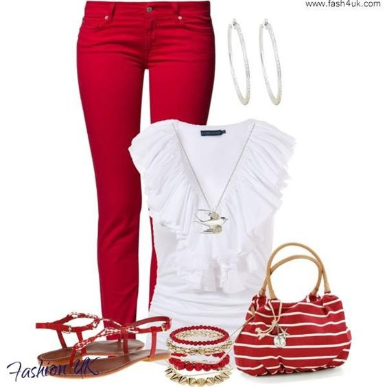 www.fash4uk.com: Red And White, Summer Fashion, Outfit Ideas, Spring Summer, Summer Outfits, White Outfit, Red White, Women, Red Pants